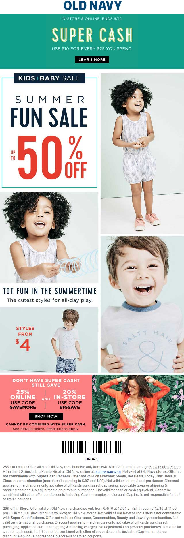 Old Navy Coupon December 2016 20% off at Old Navy, or 25% online via promo code SAVEMORE