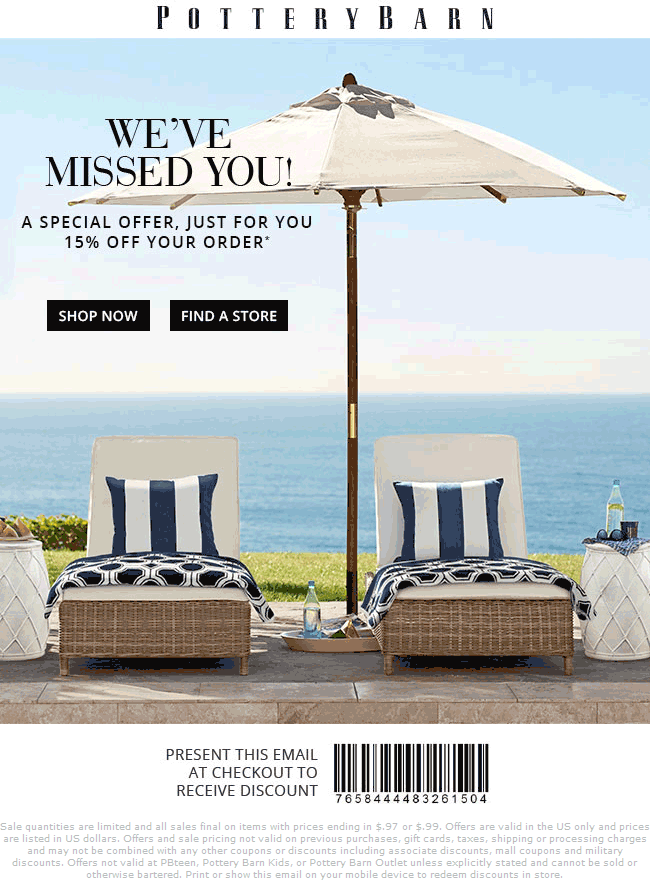 Pottery Barn Coupon October 2016 15% off at Pottery Barn