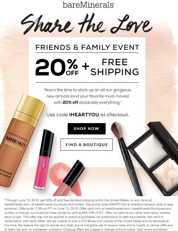 bareMinerals Coupon January 2017 20% off at bareMinerals, or online with free ship via promo code IHEARTYOU