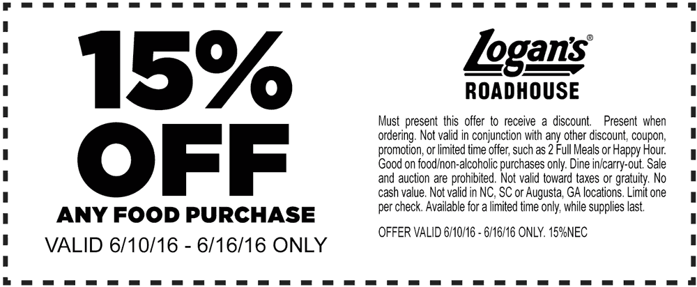 Logans Roadhouse Coupon March 2018 15% off at Logans Roadhouse restaurants