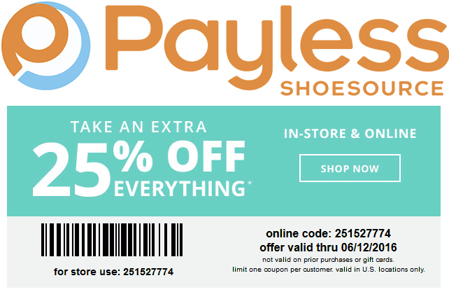 Payless Shoesource Coupon January 2018 25% off at Payless Shoesource, or online via promo code 251527774