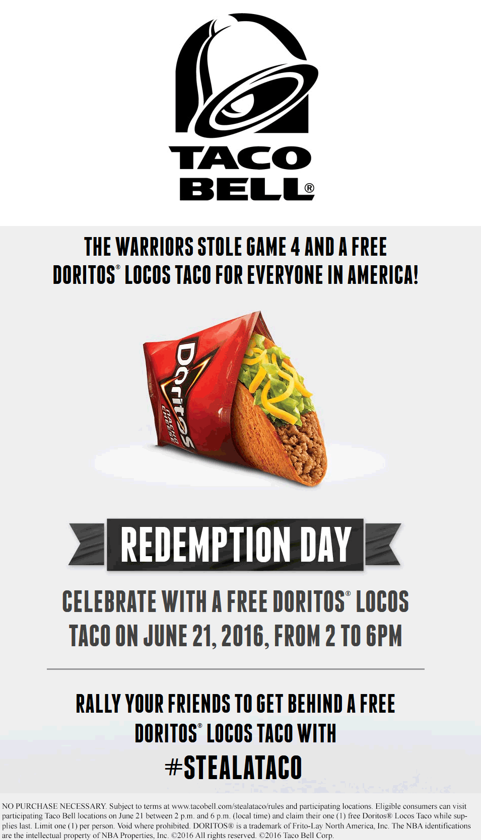 TacoBell.com Promo Coupon Free Doritos loco taco 2-6p the 21st at Taco Bell