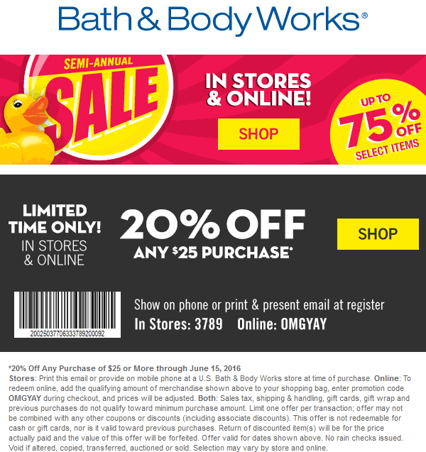 Bath & Body Works Coupon July 2017 20% off $25 at Bath & Body Works, or online via promo code OMGYAY