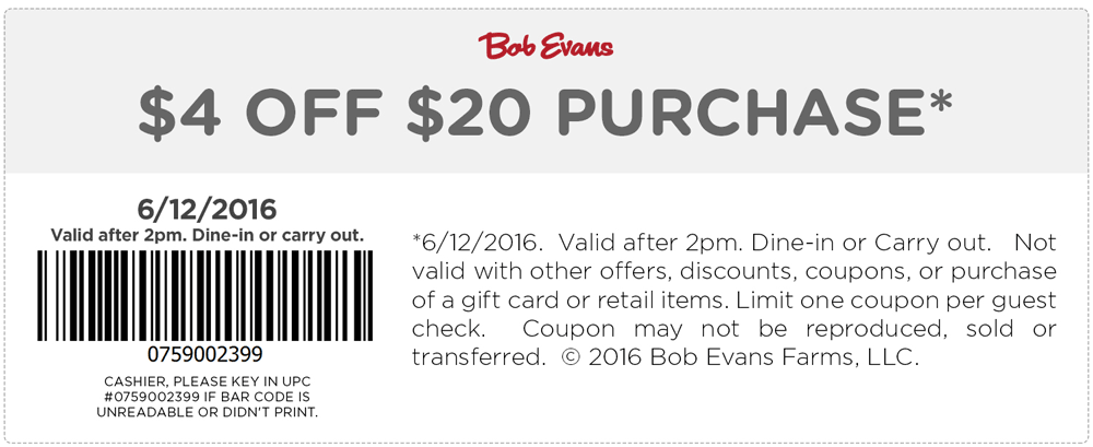 Bob Evans Coupon January 2018 $4 off $20 today at Bob Evans restaurants