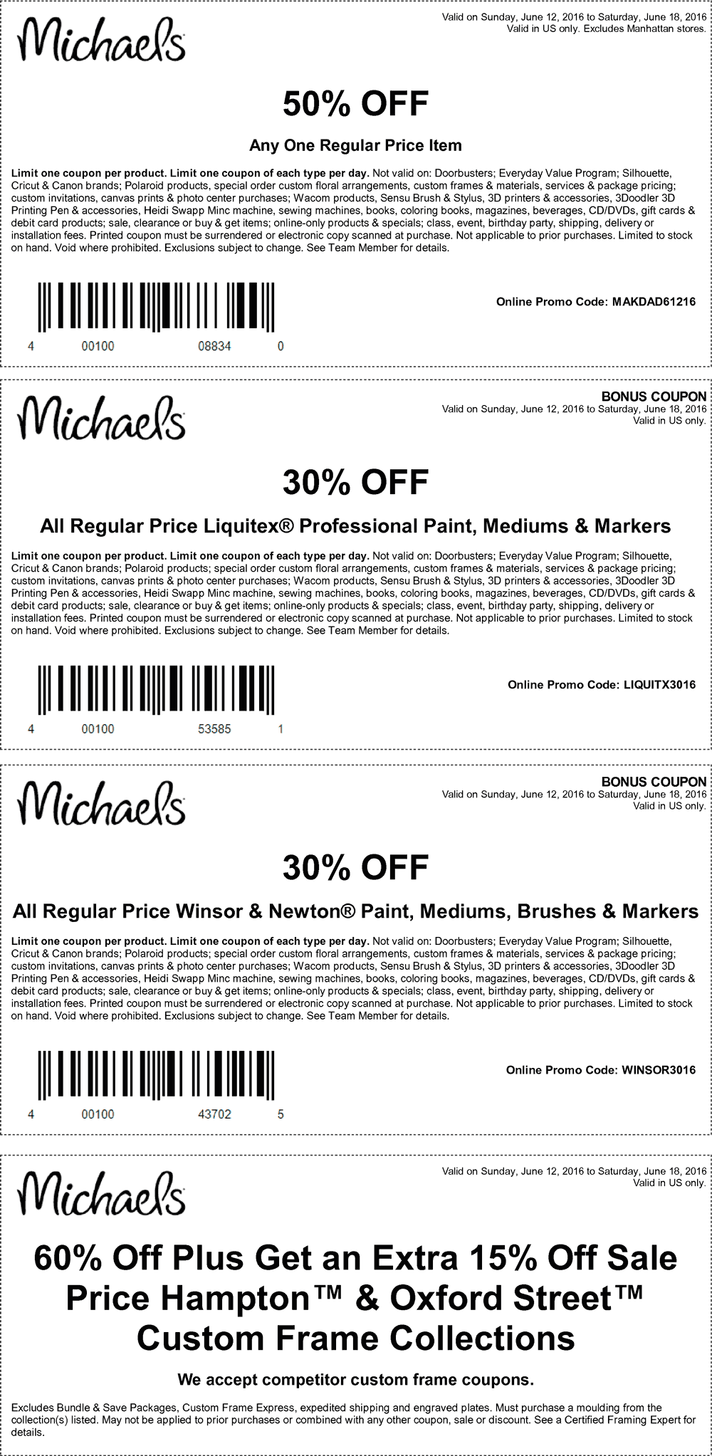 Michaels Coupon March 2017 50% off a single item & more at Michaels, or online via promo code MAKDAD61216