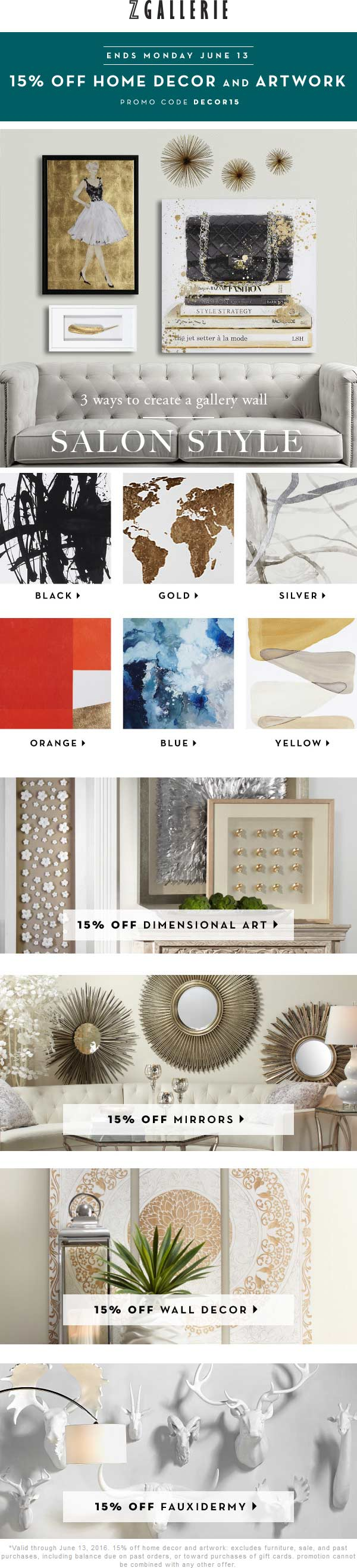 Z Gallerie Coupon March 2018 15% off decor & more at Z Gallerie, or online via promo code DECOR15