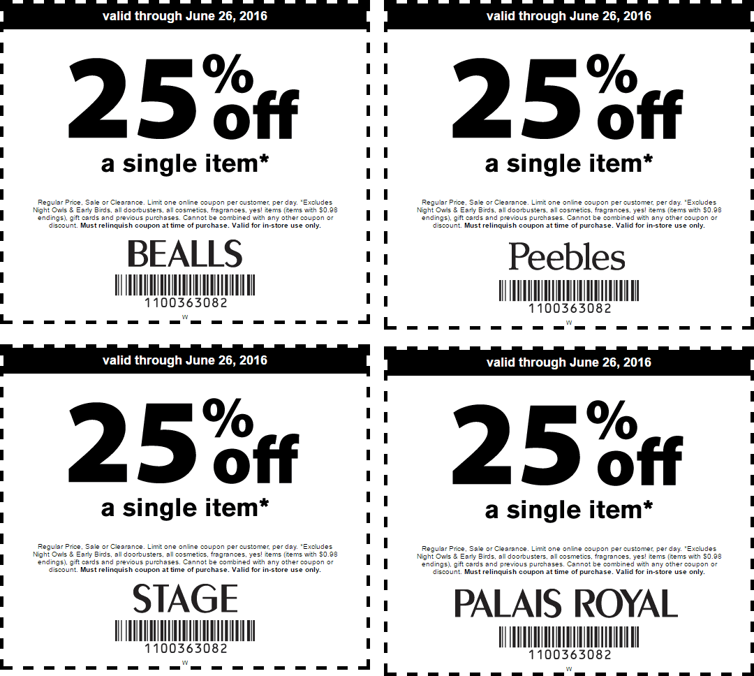 Bealls Coupon June 2017 25% off a single item at Bealls, Peebles, Stage & Palais Royal