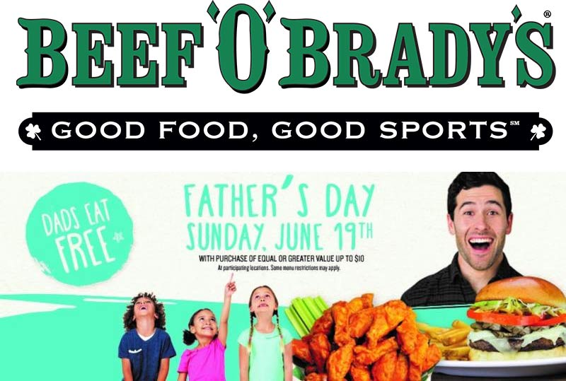BeefOBradys.com Promo Coupon Dad eats free Sunday at Beef OBradys restaurants