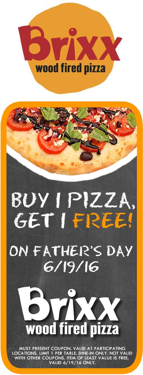 Brixx Coupon July 2017 Second wood fired pizza free Sunday at Brixx