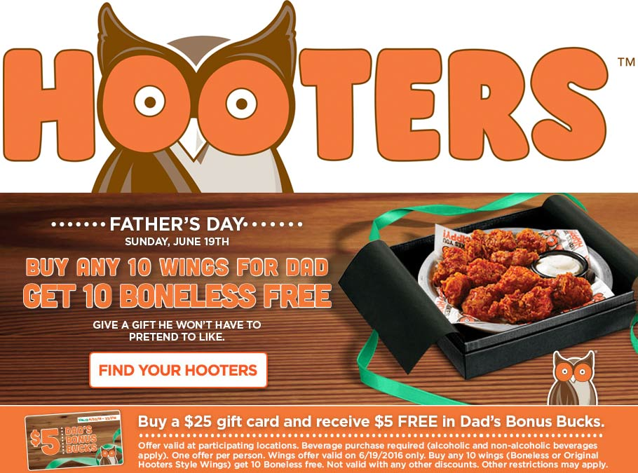 Hooters Coupon March 2018 Second 10pc wings free for Dad Sunday at Hooters