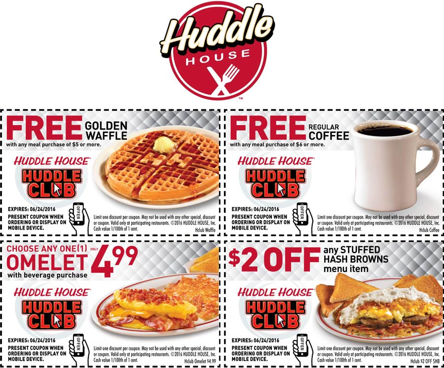 Huddle House Coupon October 2016 Free waffle, coffee & more at Huddle House restaurants