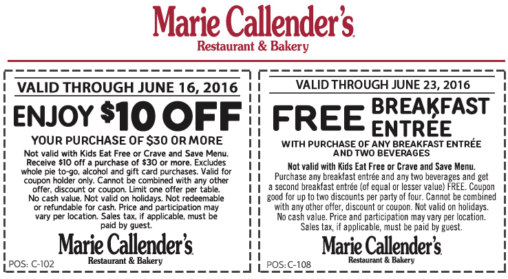 Marie Callenders Coupon October 2016 Second breakfast free & more at Marie Callenders restaurant & bakery