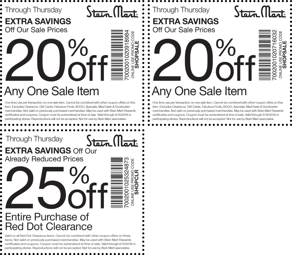 Stein Mart Coupon October 2016 Extra 20% off a sale item at Stein Mart, or online via promo code SHOPSALE