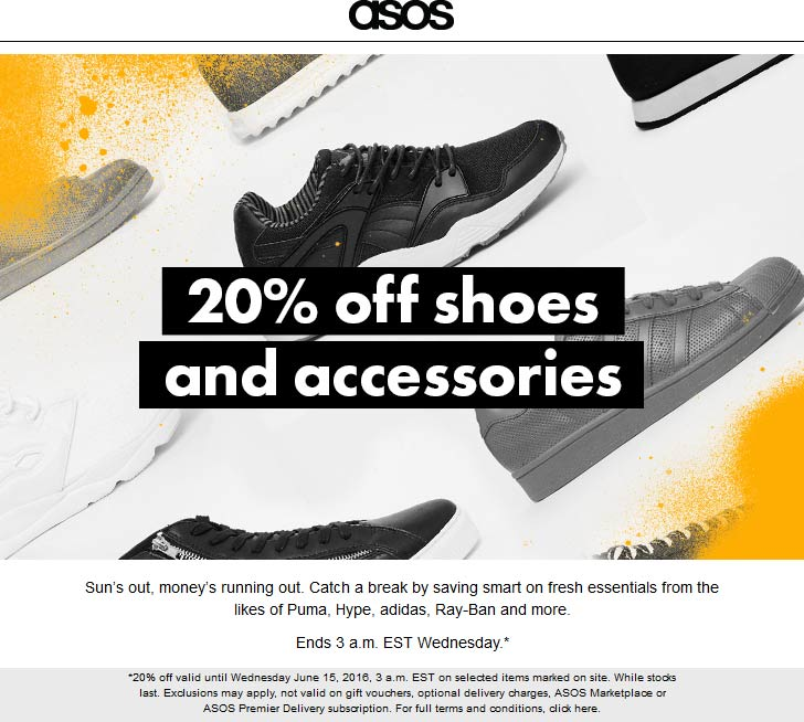 ASOS Coupon August 2017 20% off shoes & accessories online today at ASOS
