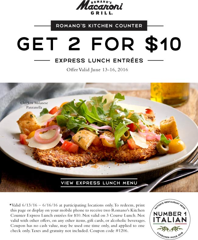 Macaroni Grill Coupon June 2017 Two lunches for $10 at Macaroni Grill