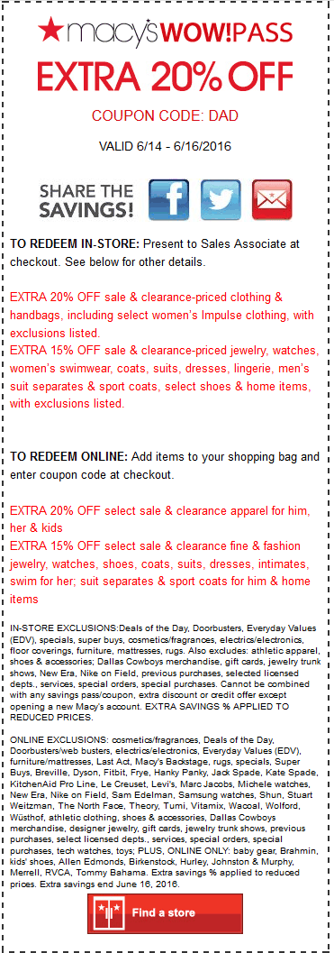 Macys Coupon May 2018 Extra 20% off at Macys, or online via promo code DAD