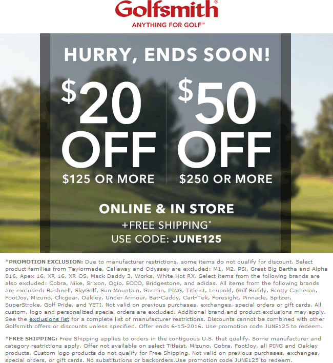 Golfsmith Coupon June 2017 $20 off $125 & more today at Golfsmith, or online via promo code JUNE125