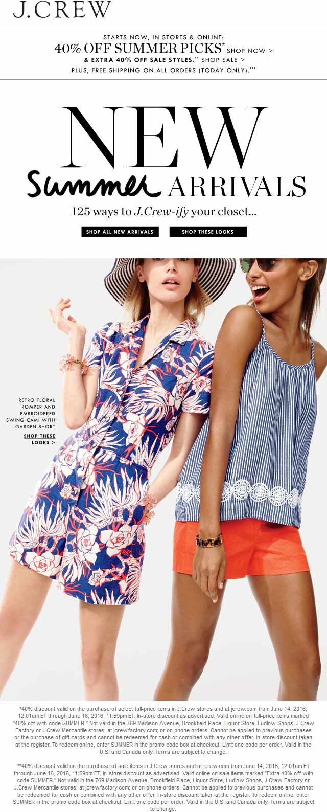 J.Crew Coupon January 2017 Extra 40% off sale items & more at J.Crew, or online via promo code SUMMER