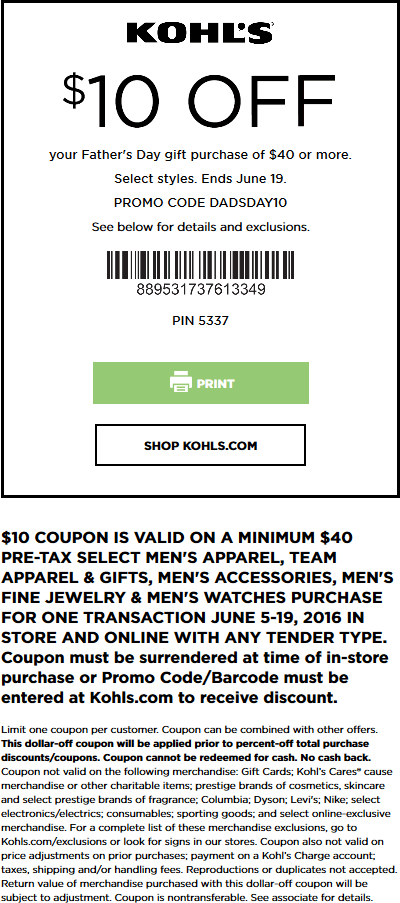 Kohls Coupon January 2017 $10 off $40 on Fathers Day gifts at Kohls, or online via promo code DADSDAY10