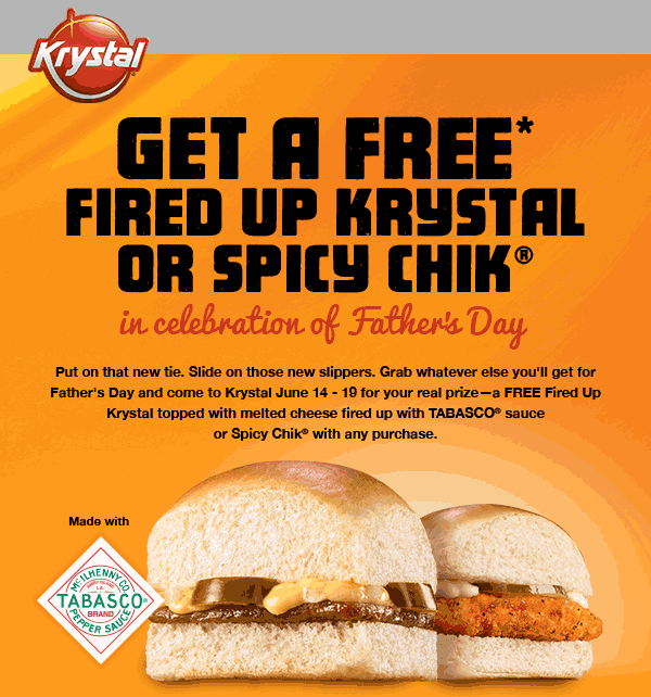 Krystal Coupon August 2017 Free chicken slider or burger with any purchase at Krystal