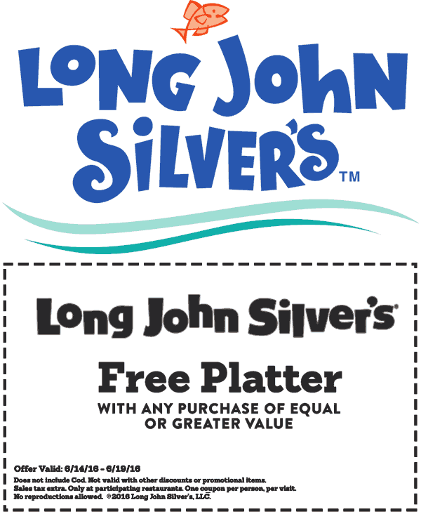 Long John Silvers Coupon January 2018 Second platter free at Long John Silvers
