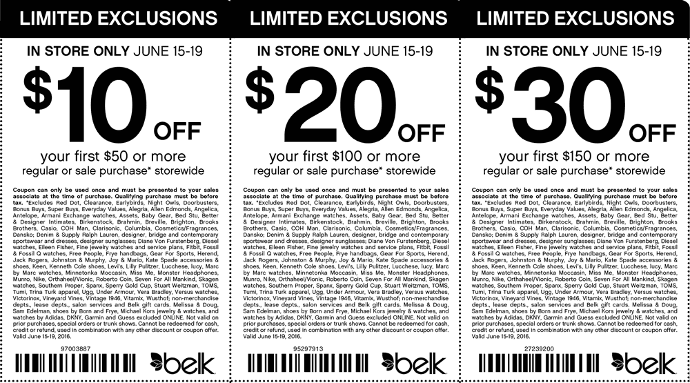 Belk Coupon January 2018 $10 off $50 & more at Belk, or online via promo code 22589203