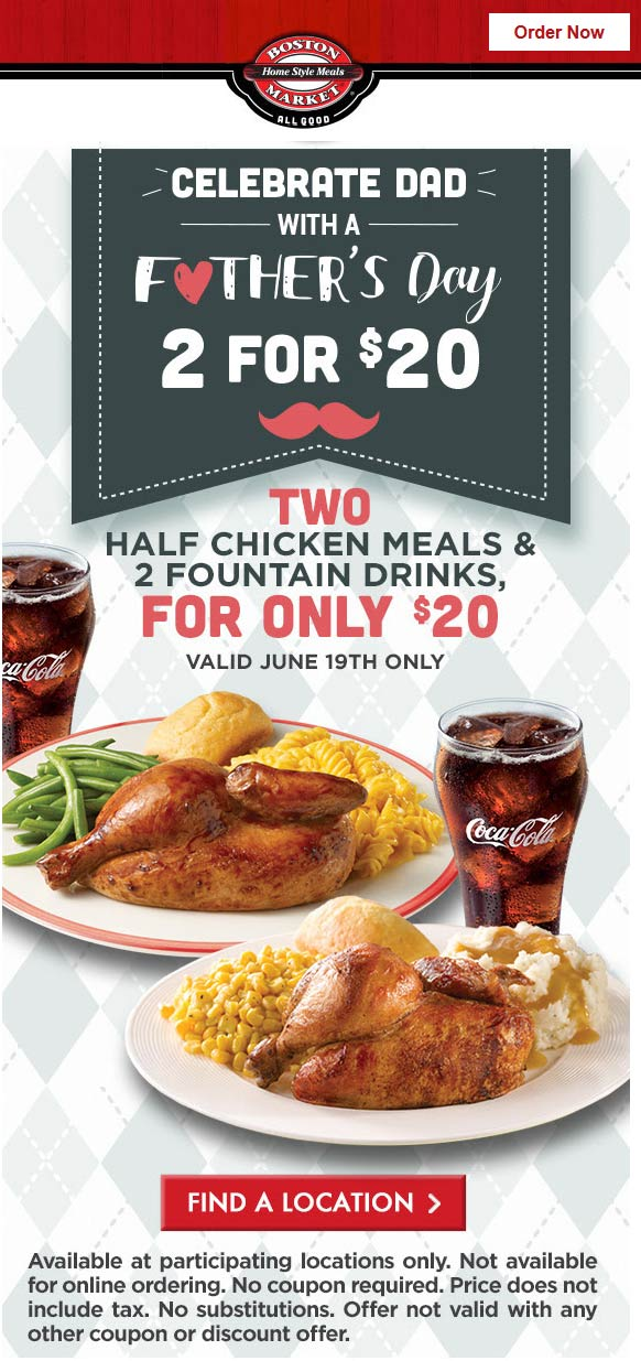Boston Market Coupon June 2017 2 half chicken meals for $20 Sunday at Boston Market