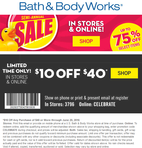 Bath & Body Works Coupon December 2017 $10 off $40 at Bath & Body Works, or online via promo code CELEBRATE