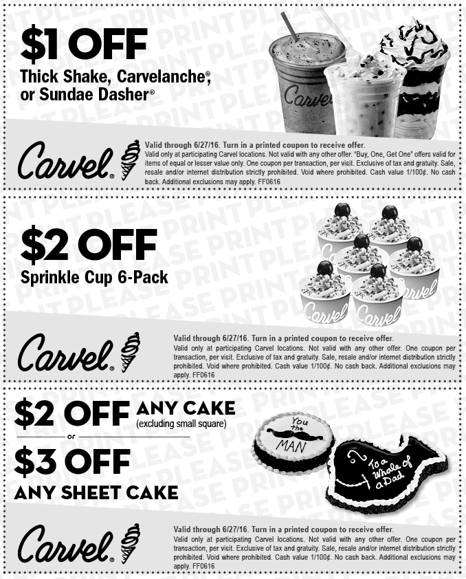 Carvel Coupon January 2017 Shave a buck off a shake & more at Carvel ice cream