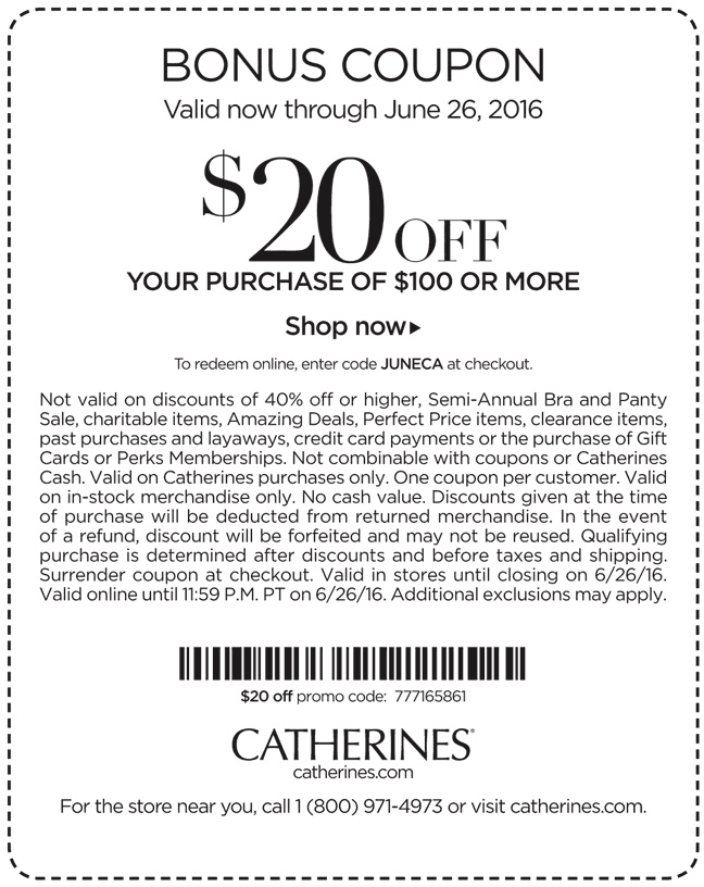 Catherines Coupon August 2017 $20 off $100 at Catherines, or online via promo code JUNECA
