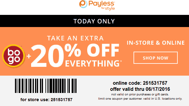 Payless Shoesource Coupon December 2016 20% off today at Payless Shoesource, or online via promo code 251531757