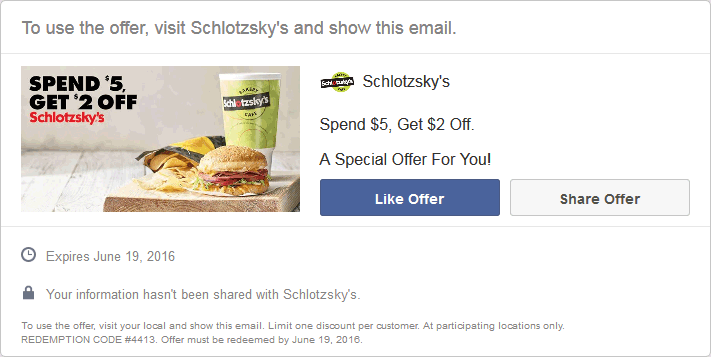 Schlotzskys Coupon March 2018 $2 off $5 at Schlotzskys deli