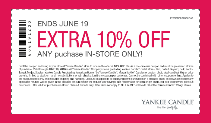 Yankee Candle Coupon August 2017 Extra 10% off the tab at Yankee Candle