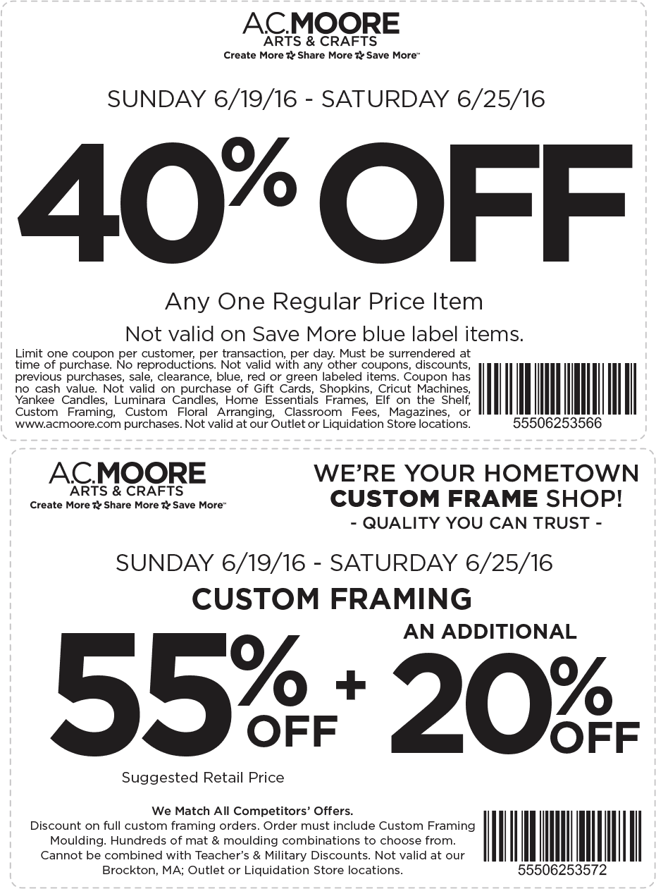 A.C. Moore Coupon May 2018 40% off a single item at A.C. Moore