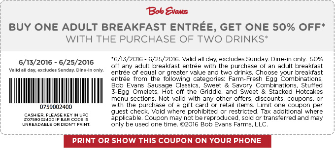 Bob Evans Coupon October 2016 Second breakfast 50% off at Bob Evans