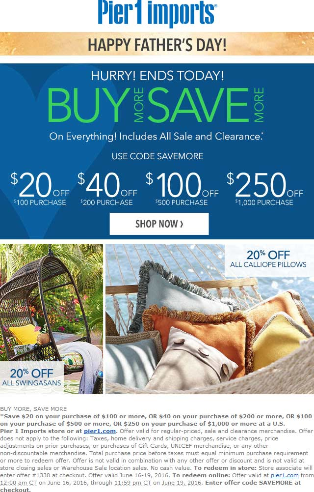 Pier 1 Coupon May 2017 $20 off $100 & more today at Pier 1 Imports, or online via promo code SAVEMORE