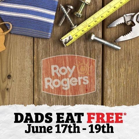 Roy Rogers Coupon May 2017 Dads combo meal free with your kids meal today at Roy Rogers