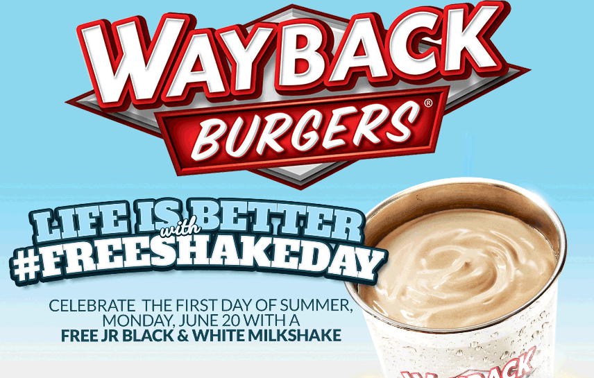 WaybackBurgers.com Promo Coupon Free shake today at Wayback Burgers