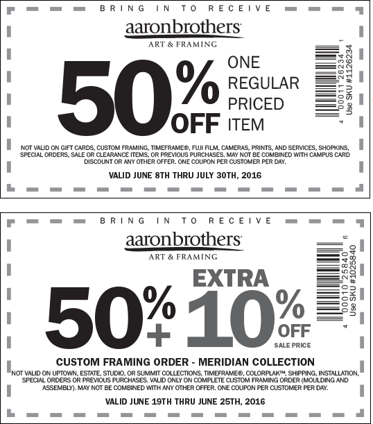 Aaron Brothers Coupon October 2016 50% off a single item at Aaron Brothers art & framing