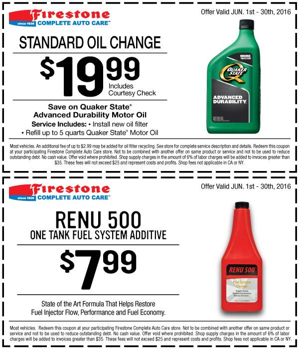 Firestone.com Promo Coupon $20 oil change at Firestone