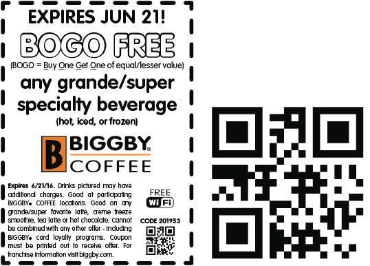 Biggby Coffee Coupon November 2017 Second drink free today at Biggby Coffee