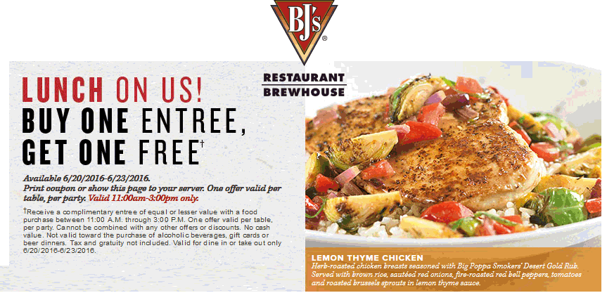 BJs Restaurant Coupon October 2016 Second lunch free at BJs Restaurant Brewhouse