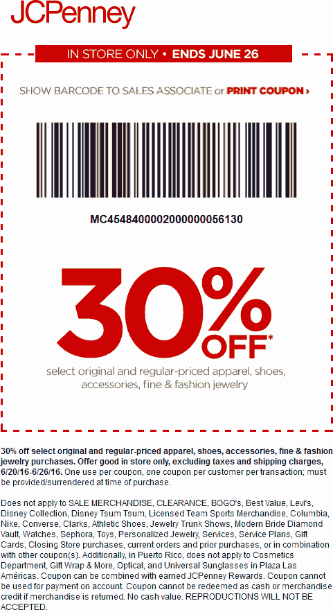 JCPenney Coupon November 2017 30% off apparel at JCPenney