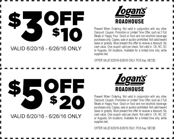 Logans Roadhouse Coupon May 2017 $3 off $10 & more at Logans Roadhouse restaurants
