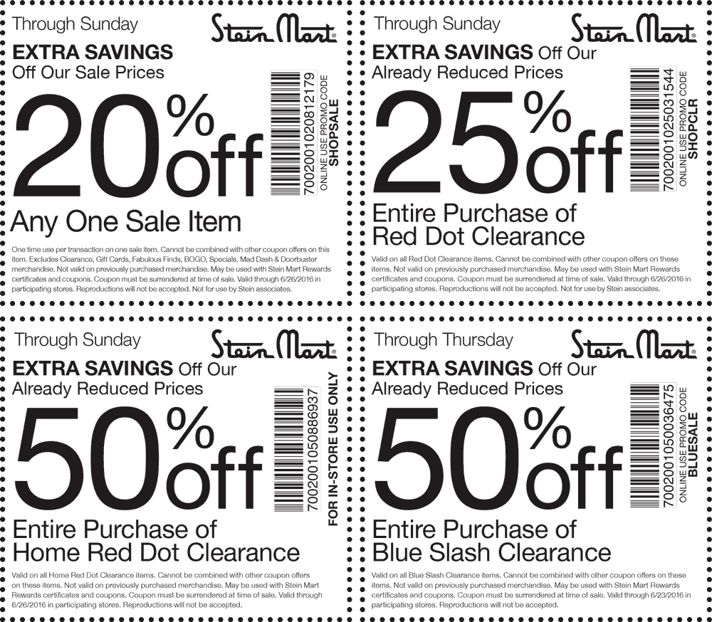 Stein Mart Coupon May 2017 Extra 50% off clearance & more at Stein Mart, or online via promo code BLUESALE