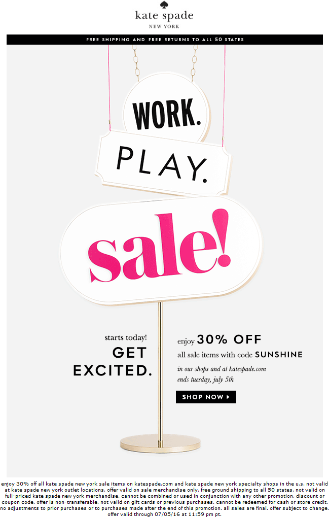 Kate Spade Coupon April 2017 Extra 30% off sale items at Kate Spade, or online via promo code SUNSHINE