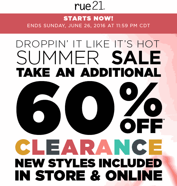 Rue21 Coupon June 2017 Extra 60% off clearance at rue21, ditto online