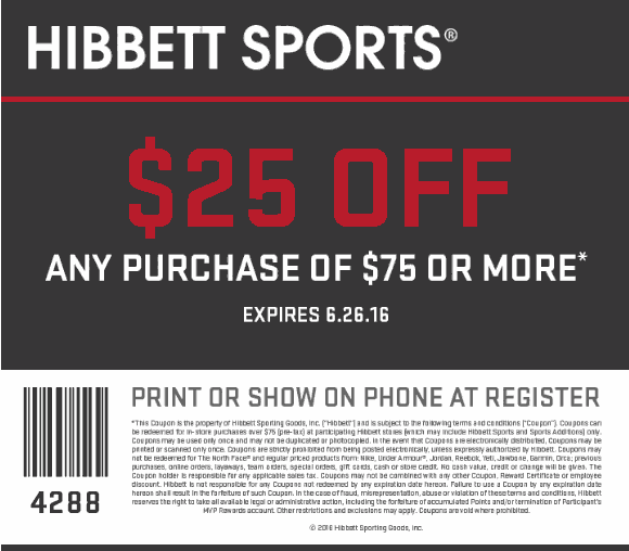 Hibbett Sports Coupon June 2017 $25 off $75 at Hibbett Sports