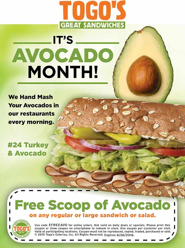 Togos Coupon August 2018 Free avocado scoop with your sandwich or salad at Togos