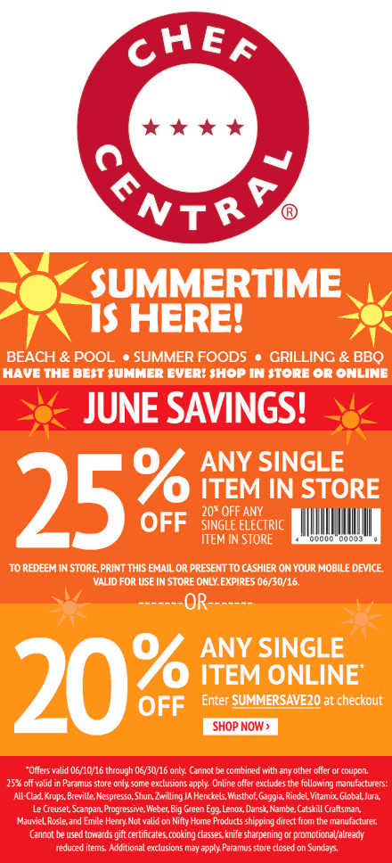 Chef Central Coupon August 2017 25% off a single item at Chef Central, or 20% online via promo code SUMMERSAVE20